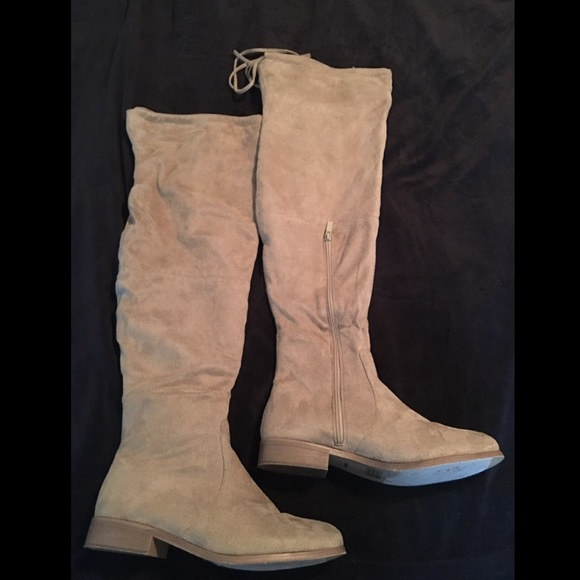 d80754c4888 Journee Collection Shoes - Over The Knee Suede-Like Tan Boots